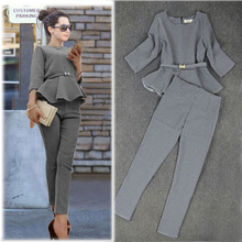 New 2015 Spring Autumn Fashion Women's Business Pants Suits Houndstooth Checker Pattern Ruffles Suits For Women 2 Pieces Set(China (Mainland))