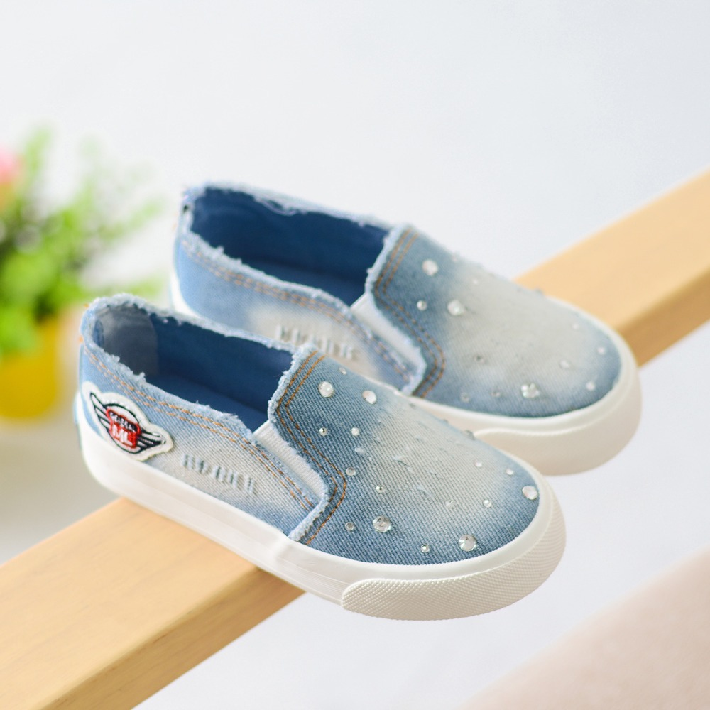2016 Autumn Canvas Children Shoes for Girls Fashion Kids Sneakers Elastic Band Denim Kids Shoes Jeans Low Flat Casual Sneakers(China (Mainland))