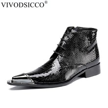 VIVODSICCO YENI Stil En kaliteli Tasarımcı Siyah Yılan Derisi erkek ayakkabısı Lüks Chelsea Erkek Batı Motosiklet Çizmeler Elbise Ayakkabı(China)