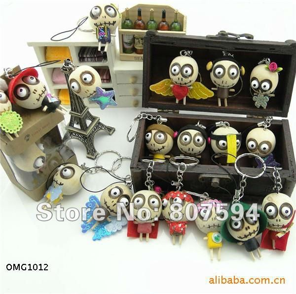 30pcs/lot Wooden & Wacky Voodoo Doll Toy JU0155 Forest Ghost Toy Cell Phone Charm and Key BAG pendants JC4(China (Mainland))