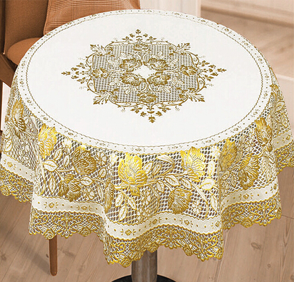New Year table covers Bronzing PVC tablecloth round hollow table cloth for christmas/party/home/hotel/wedding decoration(China (Mainland))