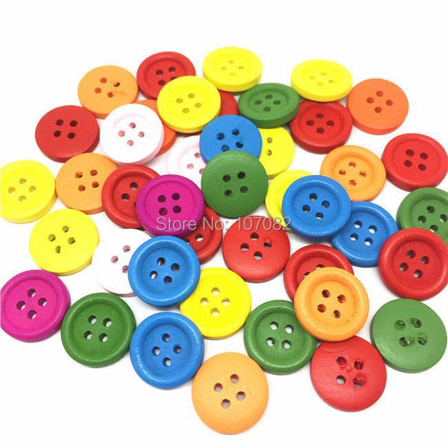 Free Shipping!200pcs/lot 15mm Multi Wooden Buttons 4 Holes Sewing Baby Fancy Button For Scrapbooking DIY Crafts