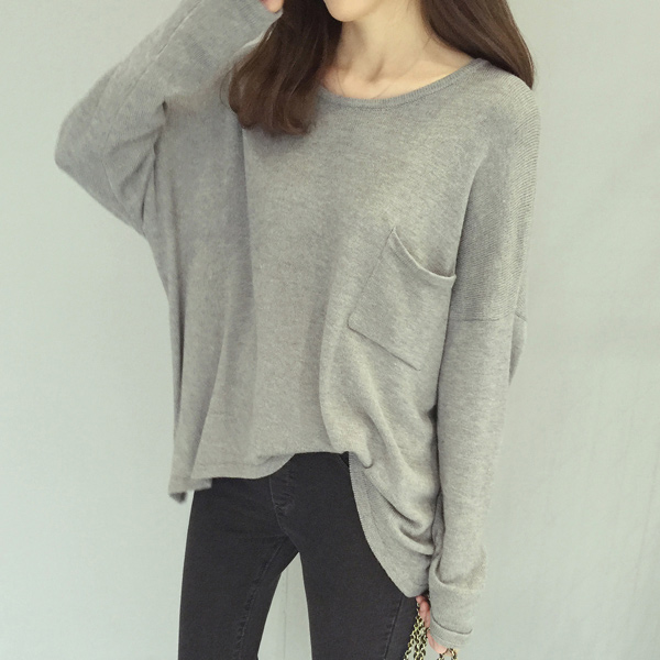 2015 new autumn Sack teenager girl fashion black grey tops women casual cool long sleeved Pullover Sweater(China (Mainland))