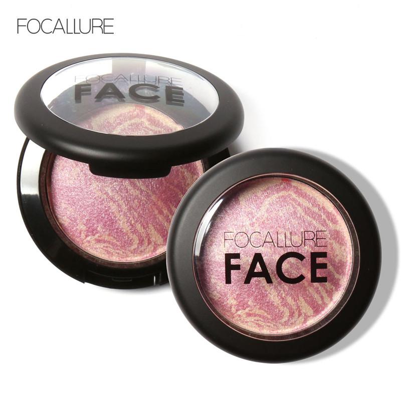 FOCALLURE makeup baked blush palette bronzer blusher with brush 6 colors studio fix colorete iluminador maquiagem FA17(China (Mainland))