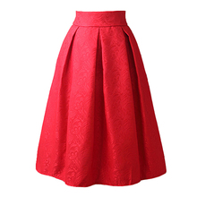 New Faldas 2016 Summer Style Vintage Skirt High Waist Work Wear Midi Skirts Womens Fashion red blue black Jupe Femme Saias(China (Mainland))
