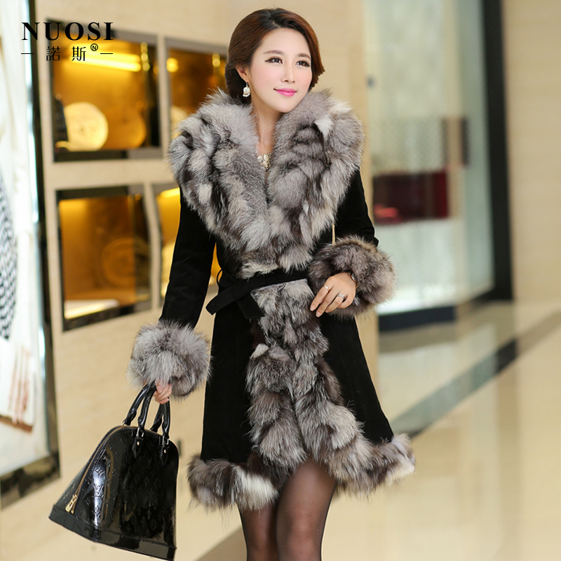 Real genuine leather fur long coat with fox fur collor for women in winter Wholesale Price 229(China (Mainland))