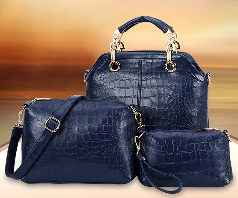 3Pcs Womens Ladies Leather Handbag Briefcase Bag Crocodile Print Purse(China (Mainland))