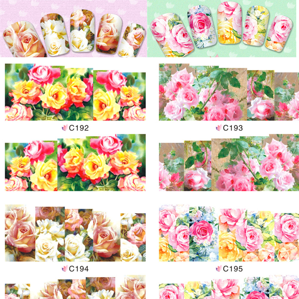 1sheets New Manicure Beauty Rose Nail Art Flower Full Wraps of Nail Decorations Water Transfer Stickers Decals C192-195(China (Mainland))