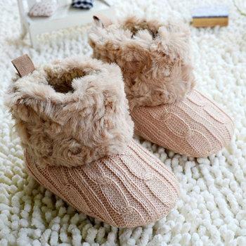 Infant Crochet Knit Fleece Boots Toddler Girl Wool Snow Crib Shoe Booties Bootee