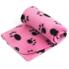 1pc Hot Warm Soft Paw Print Pet Dog Fleece Blanket Cat Puppy Bed Mat Pink