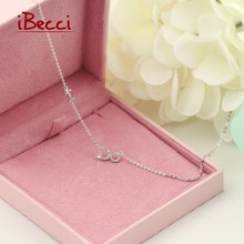 New Brand iBecci Necklace Fine Jewelry Women Hot Sale Charm 925-Sterling-Silver Chain Necklaces Letter Pendant Special Girl(China (Mainland))