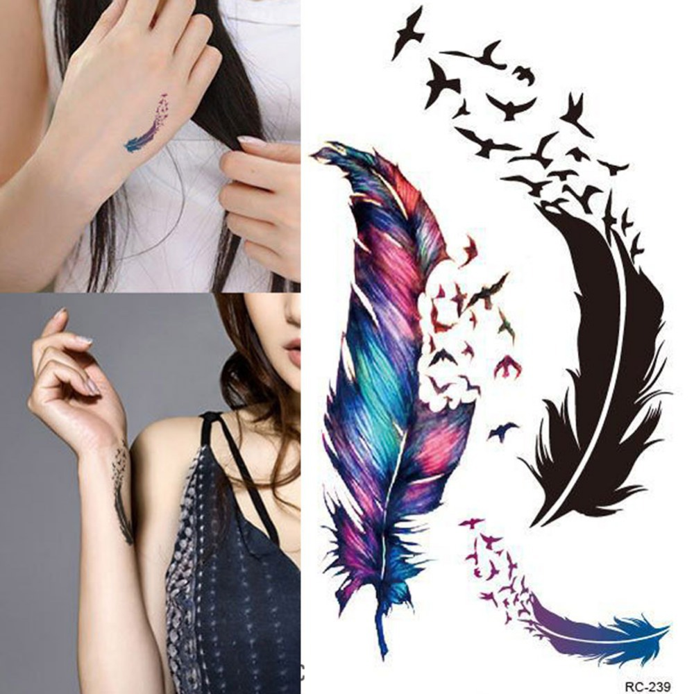 Гаджет  Trendy Waterproof Small Fresh Wild Goose Feather Pattern Tattoo Stickers - Photo Color Charming Body Accessories HB-0250 None Красота и здоровье
