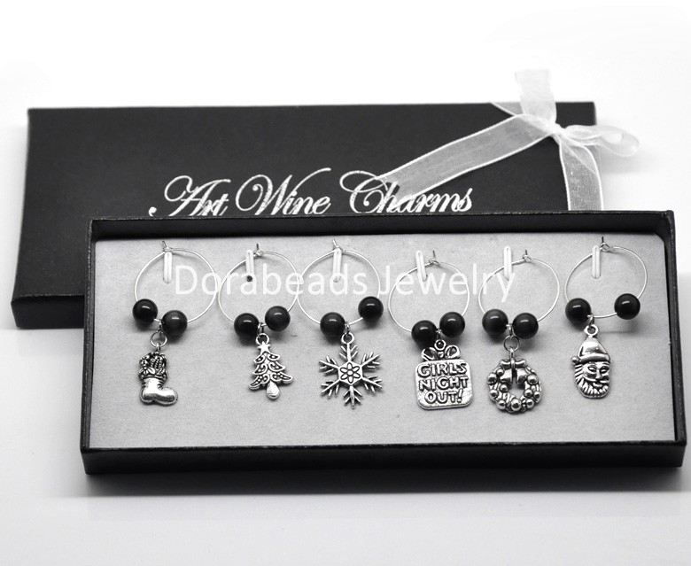 1 box wine glass charms gifts table decorations