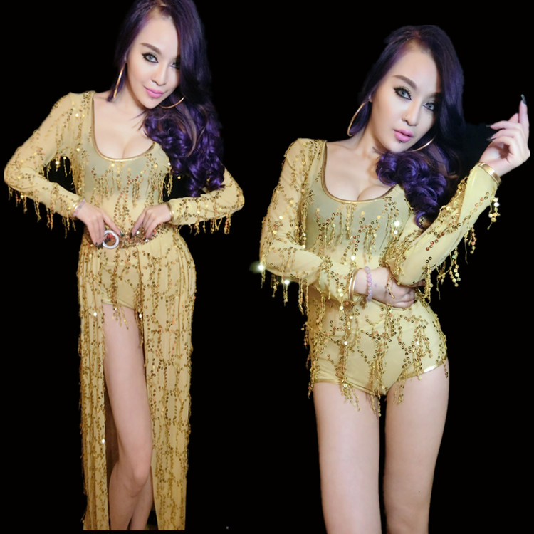 Bright sequins dance wear bodysuit skirt stage show nightclub dress Ds costumes jazz dance dj female singer sexy gold outfit(China (Mainland))