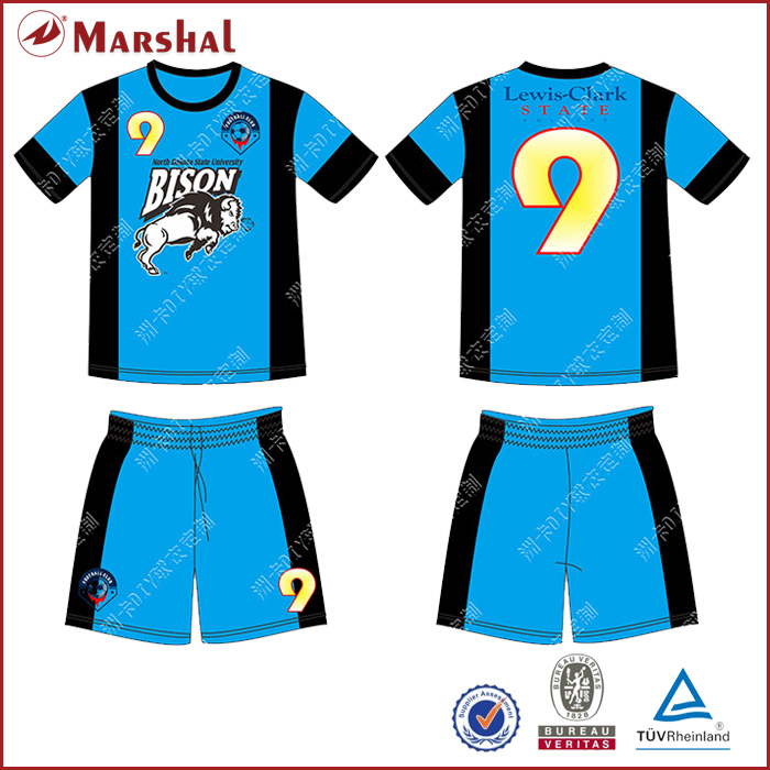 Full Soccer Uniform Wholesale,Custom Marshal soccer jersey with sublimation(China (Mainland))