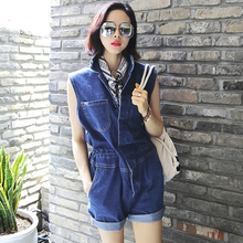 Summer 2016 roll-up hem turn-down collar slim waist high waist strap tooling personalized denim sleeveless jumpsuit shorts