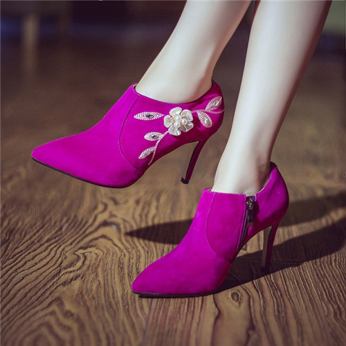 Фотография Embroider Fashion Women Boots Spike Heels High Heels Pointed Toe Autumn Ankle Women Boots Fashion Women Pumps Shoes Woman