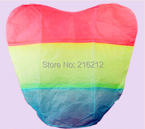 New Arrive Rainbow Heart-shaped Paper Flying Chinese Lantern Kongming Light Floating Wedding birthday Party valentines gift(China (Mainland))
