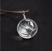 Hot sale Real Dandelion Jewelry Crystal Glass Ball Dandelion Necklace Long Strip Leather Chain Pendant Necklaces For Women(China (Mainland))