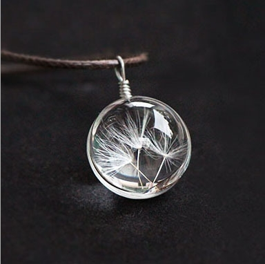 Hot sale Real Dandelion Jewelry Crystal Glass Ball Dandelion Necklace Long Strip Leather Chain Pendant Necklaces
