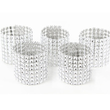 Hot Sale! 50Pcs Silver  8Rows  Bow Covers With Closure Napkin Ring Diamond Rhinestone Wedding Chair Sashes Bows Holder(China (Mainland))