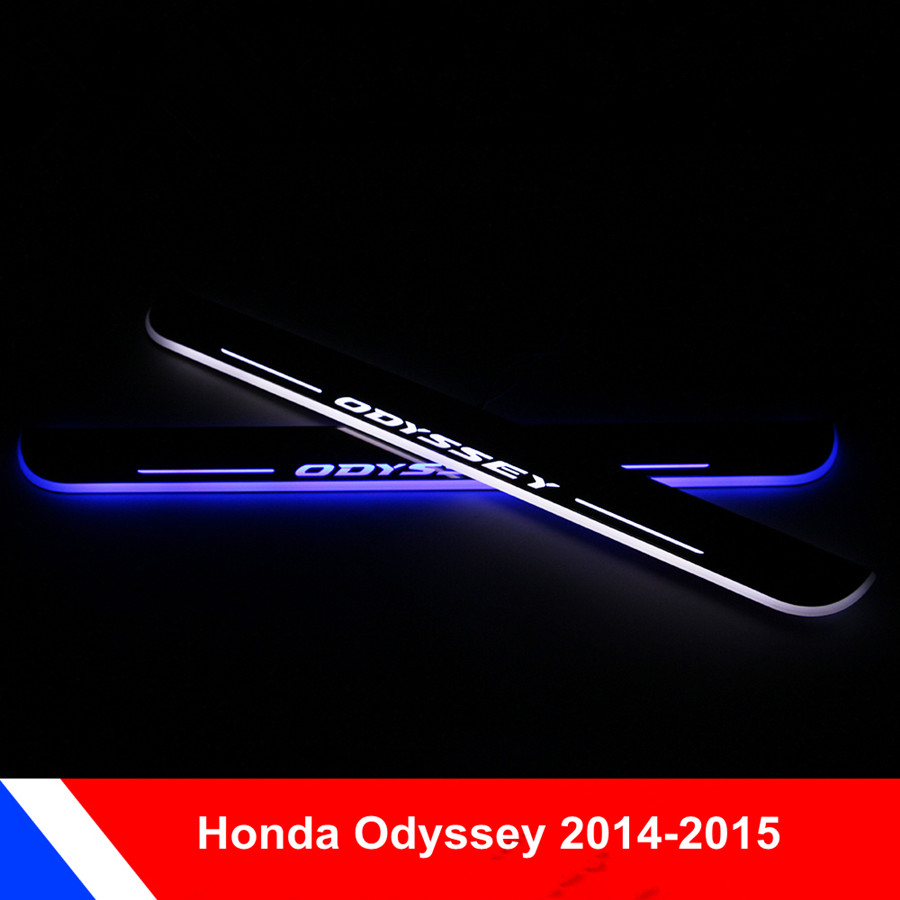 2X COOL !! high quality LED Door Sill Protectors Guards Scuff Plates  For  Honda  ODYSSEY 2014-2015<br><br>Aliexpress