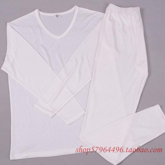 Здесь можно купить  Male silk underwear set V-neck mulberry silk knitted sleep set chromophous  Одежда и аксессуары