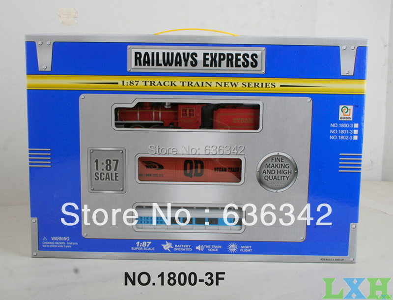 LXH Wholesale train railway 1:87scale models railroad train track With light and music learning & education toys for children(China (Mainland))