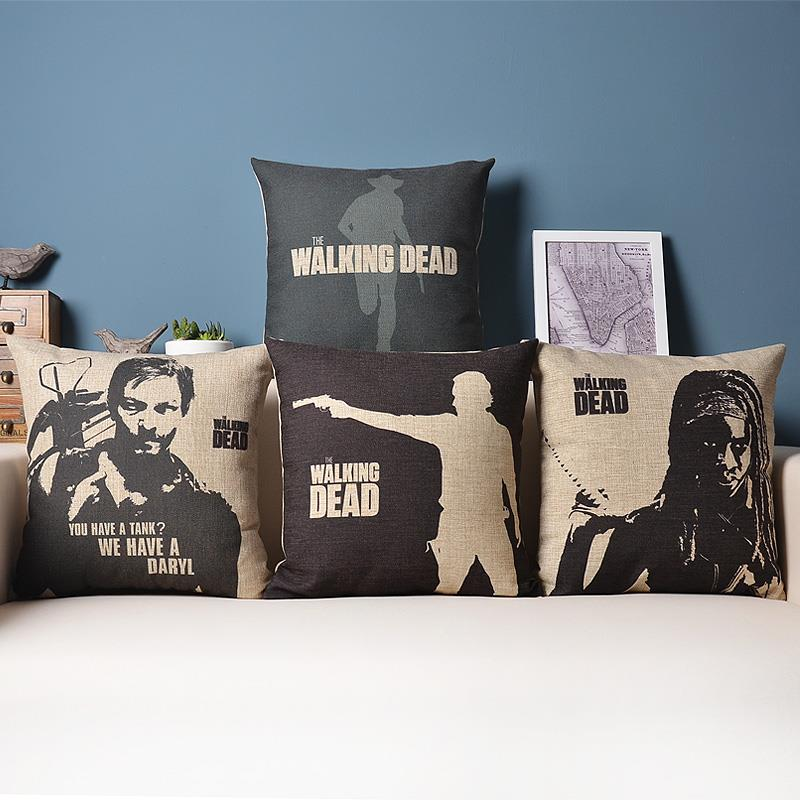 Free Shipping Black The Walking Dead Cotton Linen Fabric Decorative Cushion 45cm Hot Sale New Home Fashion Christmas Gift Pillow