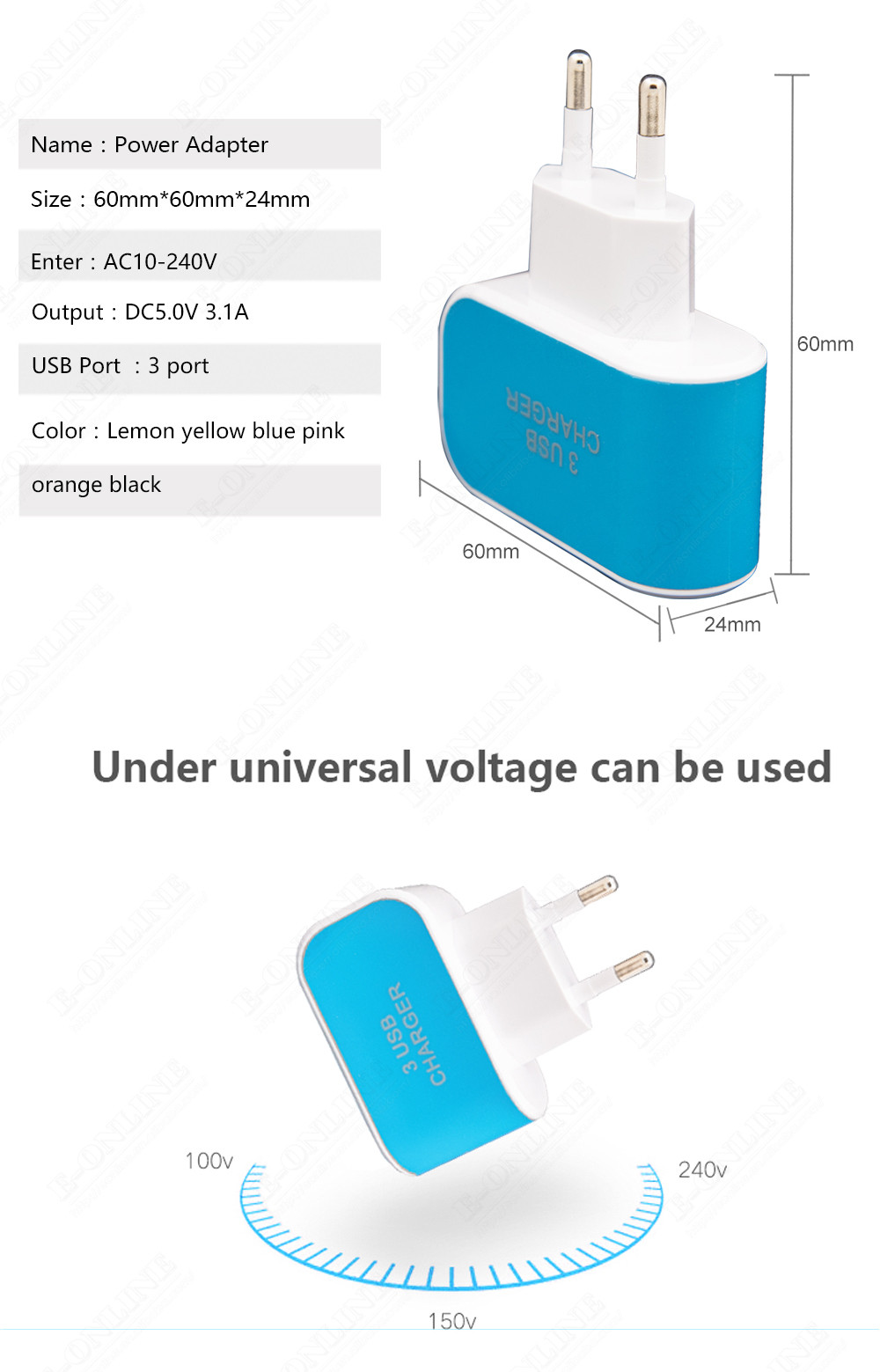 ELAINT EU Plug 3 Ports USB Wall Charger Adapter Mobile Smart Phone Electronic 5V 3A Fast Charging for iPad XiaoMi iPhone Charger