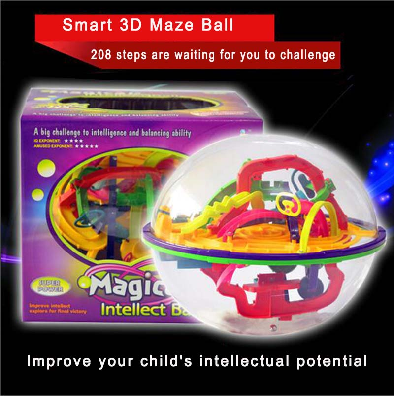 208 Steps Educational Games Intelligence Toys Kids Adult Magical Intellect Balance Logic Ability Puzzle Ball Smart 3D Maze Ball(China (Mainland))