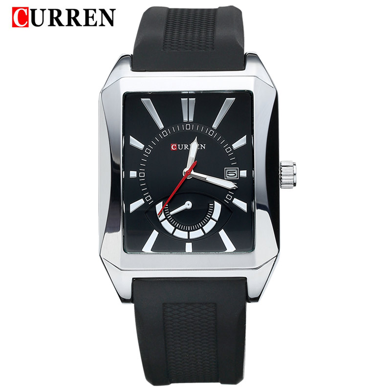 2016 new Curren brand design genuine rubber military men fashion clock army sport male gift wrist quartz business watch 8144(China (Mainland))