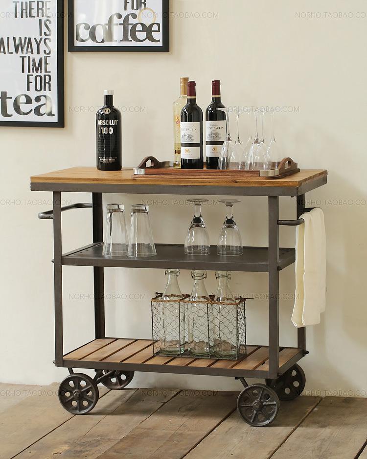 LOFT American country style retro furniture shelving racks Landmark style movement Iron glove Wine Cart<br><br>Aliexpress