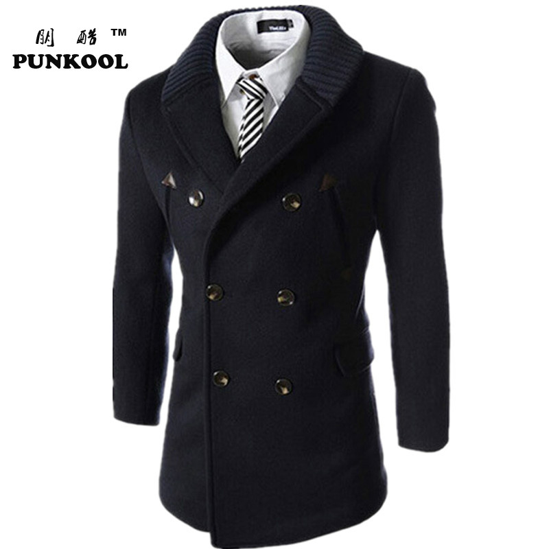 Hot Sale  Men Trench Slim Knitting Collar Patchwork Mens Trench Overcoat Double-breasted Winter Trench Coats free shipping 95Одежда и ак�е��уары<br><br><br>Aliexpress