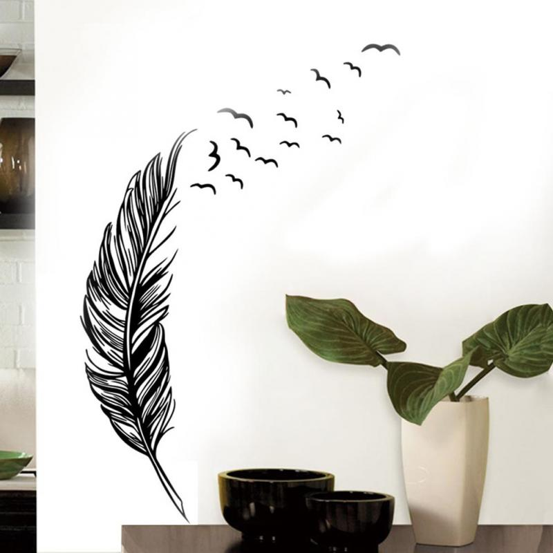 Wall Sticker Home Decor For Living Room Black Feather Pattern Decal Modern PVC Vinyl Poster Bedroom Decoration Accessories(China (Mainland))