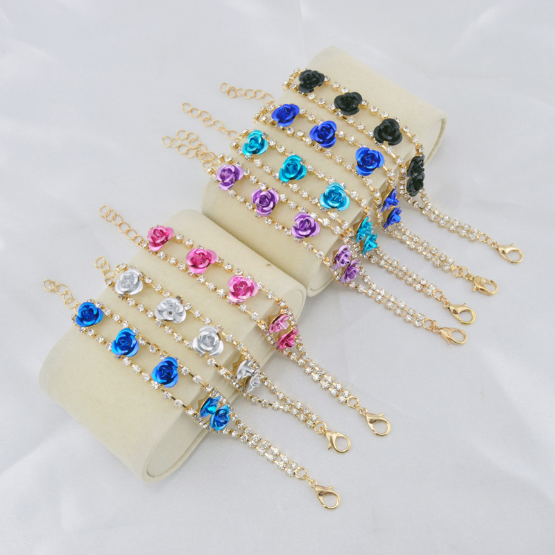 Woman 6 colors Rose indian bracelet jewelry Fashion woman bangles 18K Gold Plated Crysatl femme bracelets bangles free shipping()