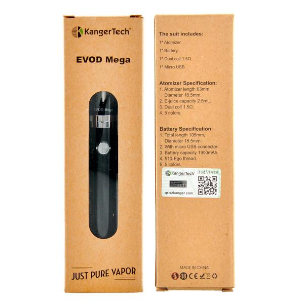 ถูก ของแท้100% Kanger Evodล้านชุด2.5มิลลิลิตรและ1900มิลลิแอมป์ชั่วโมงแบตเตอรี่ที่มีสายMicro USB Evodล้านบุหรี่อิเล็กทรอนิกส์ชุดเลขหมาย