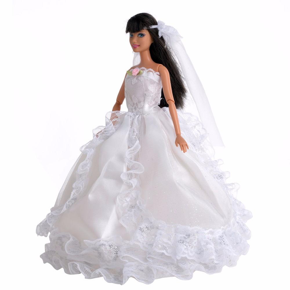 E-TING Handmade White Princess Wedding ceremony Costume Garments for Barbie Doll Reward
