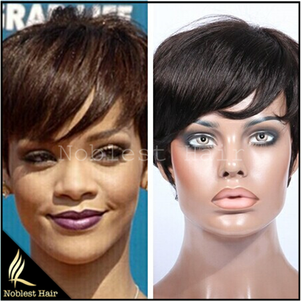 Free Shipping Full Lace Rihanna Chic Cut Short Wigs Hairstyle Dark Brown Brazilian Virgin Remy Hair Capless Human Hair Wigs(China (Mainland))