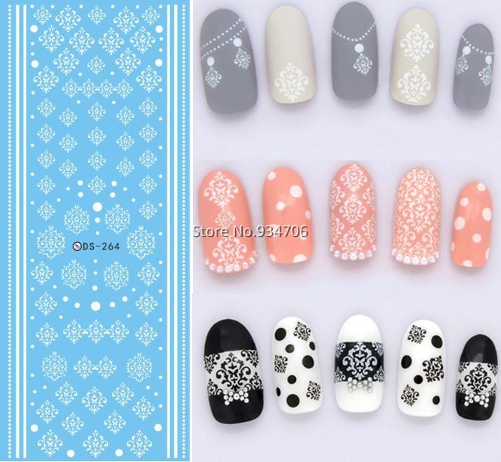 DS264 Design Water Transfer Nails Art Sticker Winter Style White Snowflake Nail Wraps Sticker Watermark Fingernails Decals(China (Mainland))