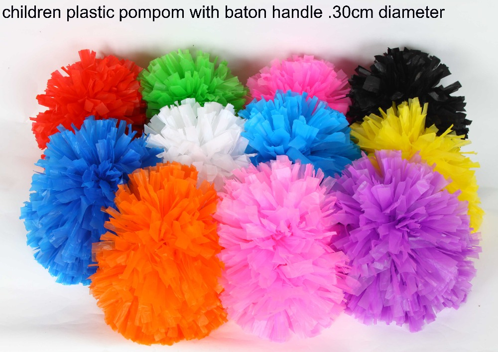 Free Shipping.30cm 80g Plastic PE colorful Cheerleading pompom with baton handle Cheering pom pom item products,11 colors(China (Mainland))