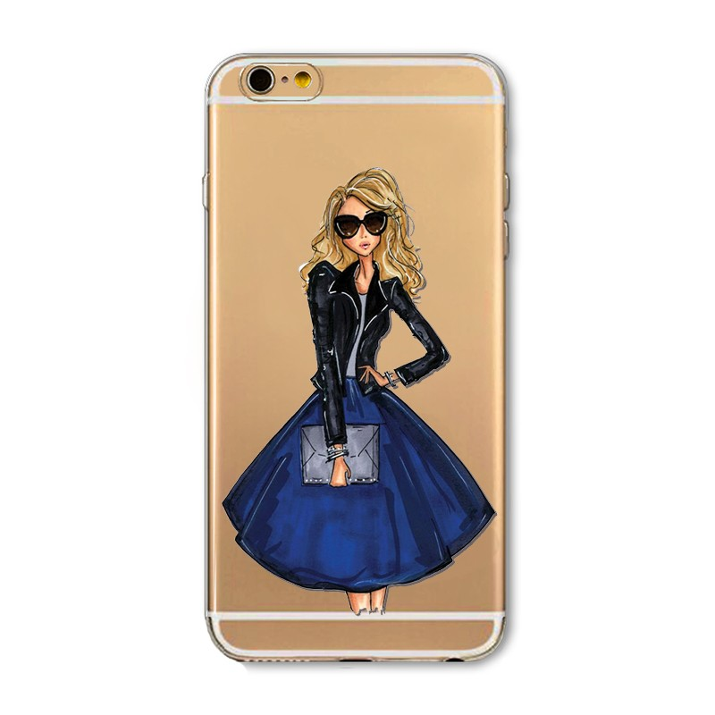 Phone Cases for iphone 4 4s 5c 5 5s SE 6 6s Plus 6Plus Soft Slim TPU Transparent Cartoon Modern Sexy Girls Pattern Case Cover