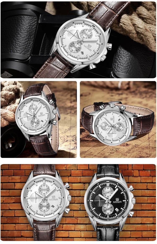 MEGIR 2712 Классические Новый Дата Хронограф Спортивные Часы Бизнес Кварцевые Часы Мужчины Военная 3ATM 3Eye Световой Wirstwatch