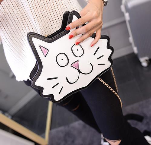 Уникальный дизайн формы белый кот мода свободного покроя на ремне , милый сумки ну вечеринку кошелек сумка цепь бесплатная доставка