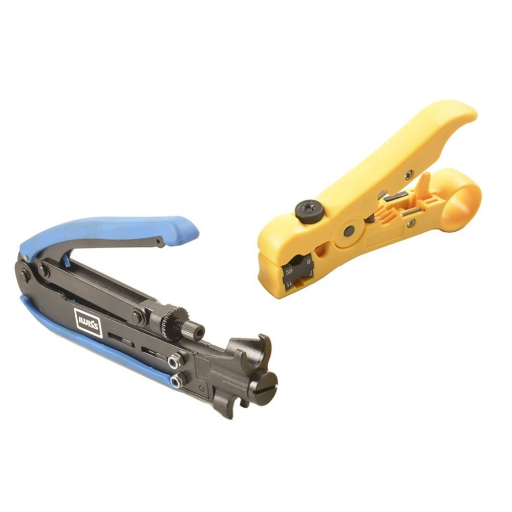 IWISS 548+352 Coax Compression Crimping Tool F-Type Crimper Cable Tech RG6 RG59 RG11 H548A with Coaxial Cable Stripper(China (Mainland))