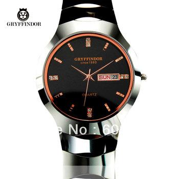2013 Glan wristwatch watch tungsten steel mens watches black rhinestone sheet double calendar quartz watch