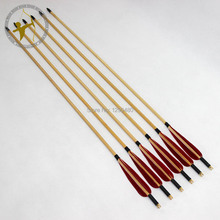 Free Shipping New 6 Pcs Archery Self Nock Point Head Red Real Turkey Feather Wood Shaft