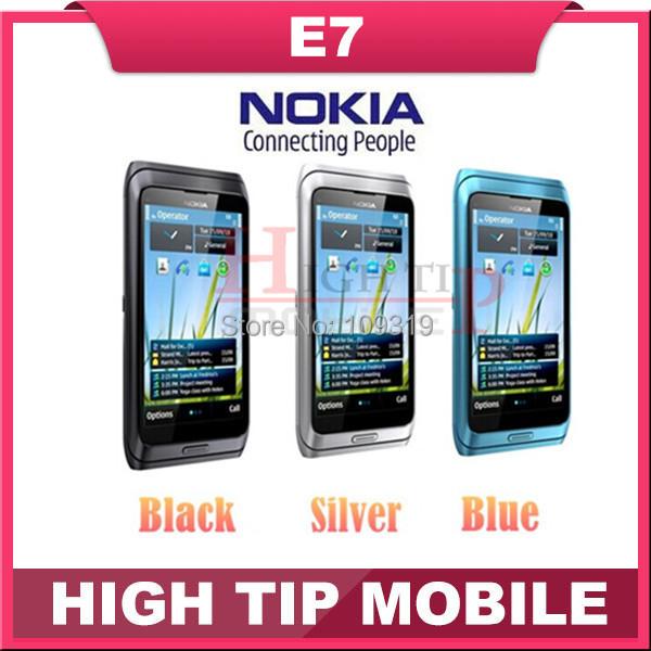 "Russian QWERTY Keyboard Nokia Unlocked Original cell phones E7 wifi 8.0MP camera,4.0"" capacitive screen 3G phone GPS Refurbished(China (Mainland))"