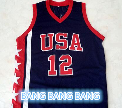 Double Stitched and Embroidery Ray ALLEN #12 Team USA Basketball Jersey Navy Blue Any Size XXS -6XL(China (Mainland))
