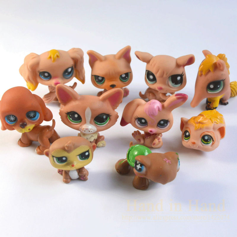 Anime 10PCS Different Q Pet Littlest Pet Shop Action Figures Cat Dog Animals Toy For Girl Boy Brinquedos(China (Mainland))